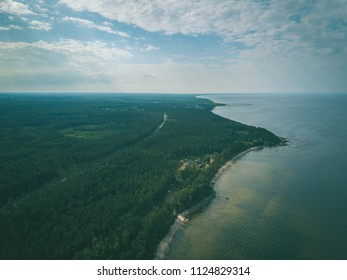 drone image. aerial view of Baltic sea shore with rocks and forest on land and highway near water. Latvia beach - vintage retro look