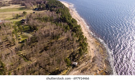 drone image. aerial view of baltic beach coast in sunny spring day. latvia - panoramic image
