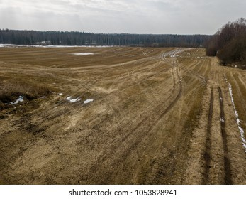 drone image. aerial view of rural area with fields in early spring. latvian agriculture landscape