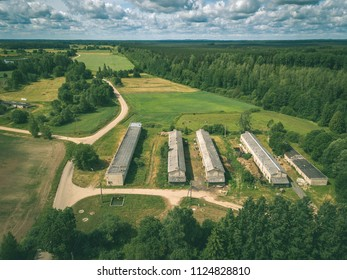 drone image. aerial view of rural area with fields and road network. latvia - vintage retro look