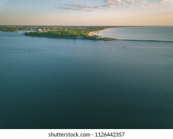 drone image. aerial view of sunset in the sea by the sea gates. Riga, latvia - vintage retro look