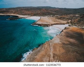 Drone image of andicuri beach in Aruba