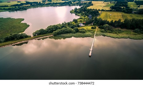 Drone image of a bridge in lake