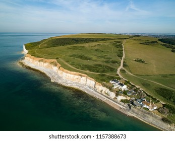 Drone image of Cuckmere Haven with coastguard cottages Seaford Head. Sussex, England