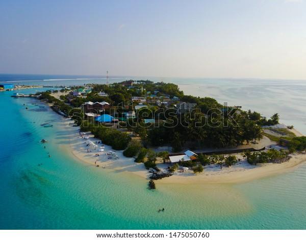 drone image of Dhiffushi island in Maldives