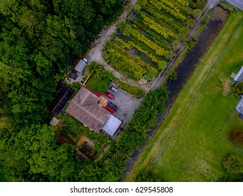 Drone image of house surrounded by nature/ House & Nature
