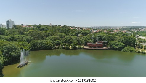 Drone image of the Portugal Park of Campinas SP Brazil, Sailboat and fountain on the lake