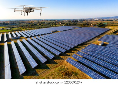 Drone inspecting solar panel site