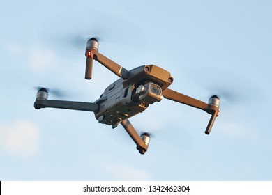 Drone midflight closeup outdoor flying