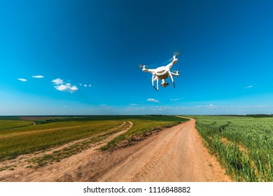 drone  on green corn field