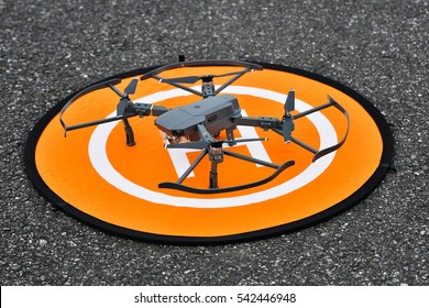 Drone on the heliport