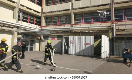 A drone oversees the activity of firefighters during drill in Haemek Hospital. Afula, Israel, Jan 30, 2017