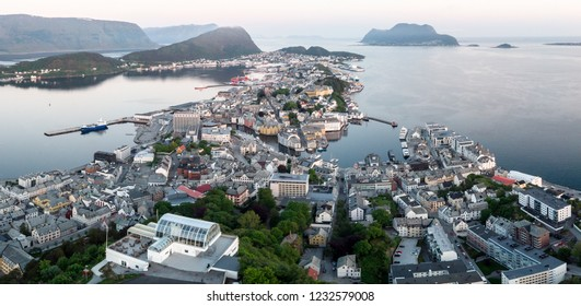 Drone panorama of Aalesund city from Aksla
