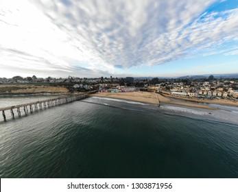 Drone panorama of beach Capitola beach