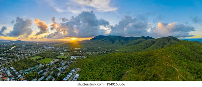 Drone panorama of mount Stuart and James Cook University Townsville, North Queensland, Australia,