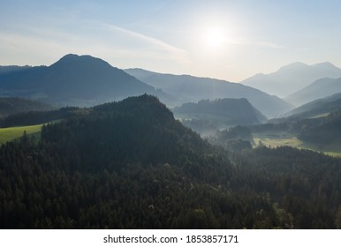 Drone panorama over forest and mountains in Bavaria, Germany .