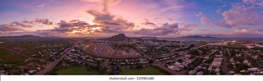 Drone panorama of  Townsville, North Queensland, Australia,