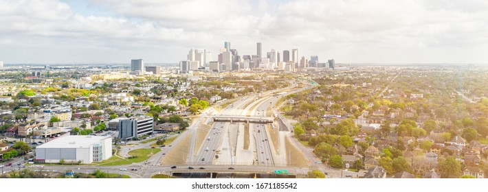 Drone panorama view of downtown Houston, TX in day.