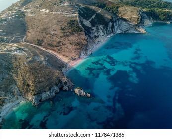 Drone photo of Albanian beach near Saranda