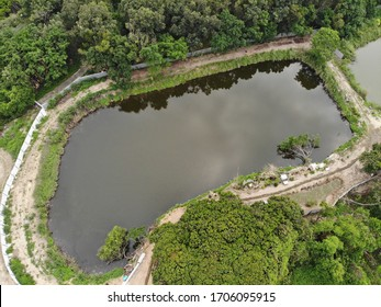 Drone photo of brand new fishpond in Yuen Long, New Territories, Hong Kong