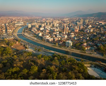 Drone photo of the city of Nis at autumn from the fortress