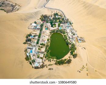 Drone photo of an Huacachina oasis in Peruvian desert