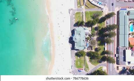 Drone photo of the Indiana tea house and ocean at Cottesloe Beach, Perth, Western Australia