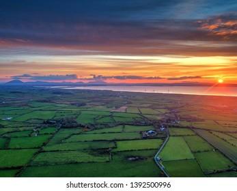 Drone photo of Irish landscape during the sunset Mayo,Sligo,Enniscrone