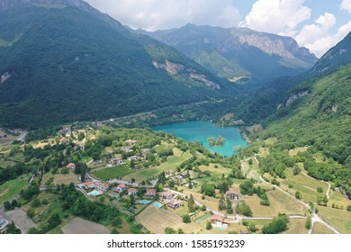 Drone photo of Lago Di Tenno lake near Lake Garda in Trentino, Italy