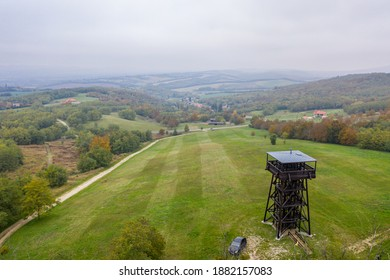 Drone photo of Mother Theresa (Terez Anya) lookout tower in an autumn afternoon in Zalakoveskut, Hungary