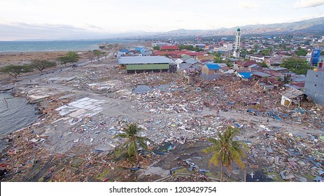 Drone Photo at Palu Sulawesi Indonesia after the Tsunami and Earthquake 15 October 2018