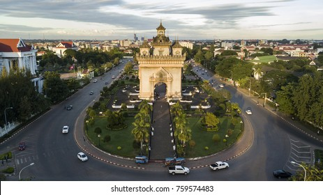 Drone photo of Patuxai, War Arch Monument in Vientiane Laos.