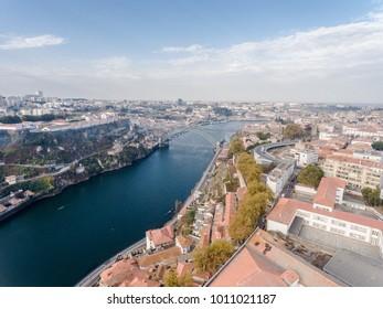 Drone photo of Porto city and Douro river