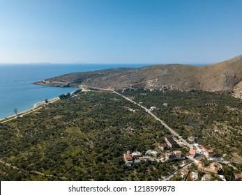 Drone photo of Qeparo in Albania (Albanian Riviera)