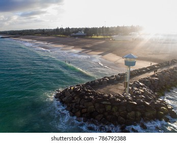 Drone photo of the rock groyne and coastline of City Beach, Perth, Western Australia