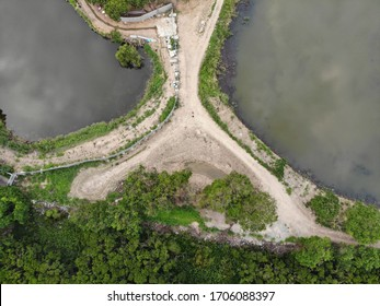 A drone photo showing two of many fishponds to be found in Yuen Long's countryside in the New Territories, Hong Kong