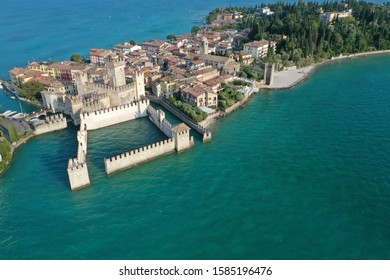 Drone photo of Sirmione on Lake Garda Italy