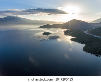 Drone photo of sunrise at Lake Bafa in Turkey
