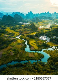 Drone photo of sunset in Yangshuo rice fields in China