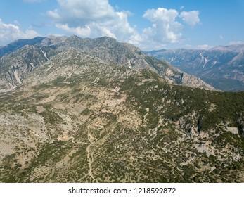 Drone photograph of Albanian mountains in Albania (Albanian Riviera)