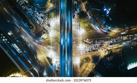 Drone photography of busy streets of modern metropolis