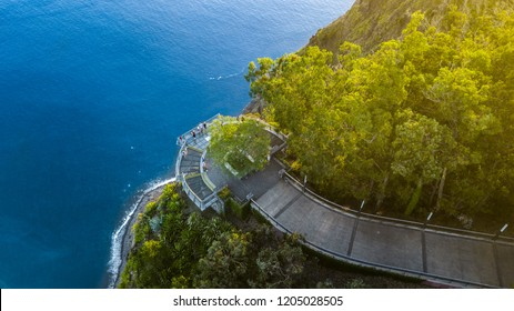 """Drone photography of """"Cabo Girao"""" viewpoint situated at """"Camara de Lobos"""", Madeira island, Portugal. The highest promontory in Europe with an elevation of 580 meters."""