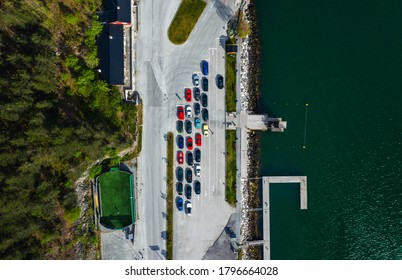 Drone photography during a local rally in the norwegian fjords.