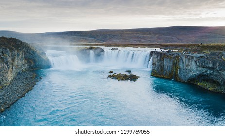Drone photography of godafoss waterfall in iceland
