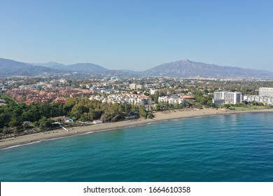Drone photography of golden mile in Marbella, Spain