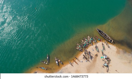 A drone photography of the lake Nokoue (Cotonou - Benin Republic)