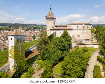 Drone photography of the medieval castle Munot in Swiss old town Schaffhausen, Switzerland