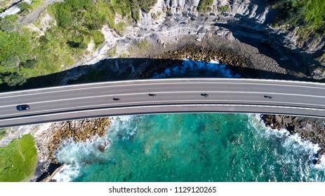 Drone Photography over Sea Cliff Bridge, Wollongong, Australia