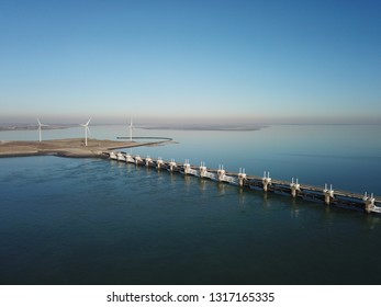 Drone photograpy from the delta works in Zeeland in the Netherlands