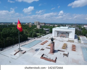 Drone photos of Ala-too Square and an orthodox church of Bishkek, Kyrgystan